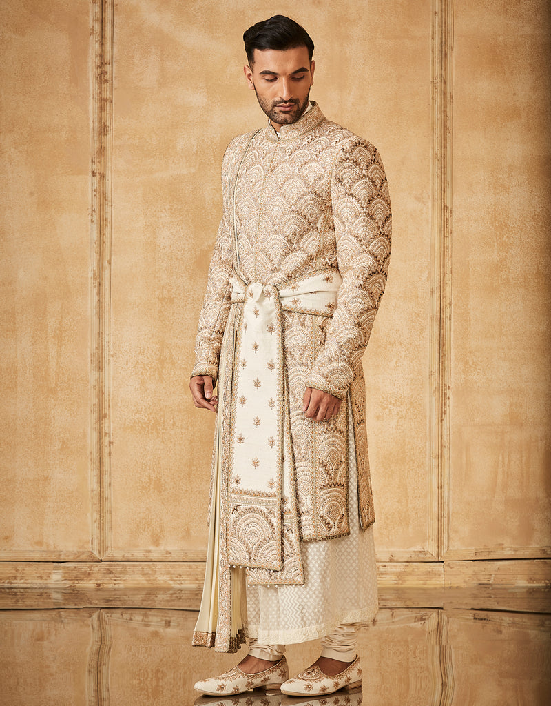 Sherwani Paired With Tonal Kurta ,Churidar, Kamarbandh And Stole