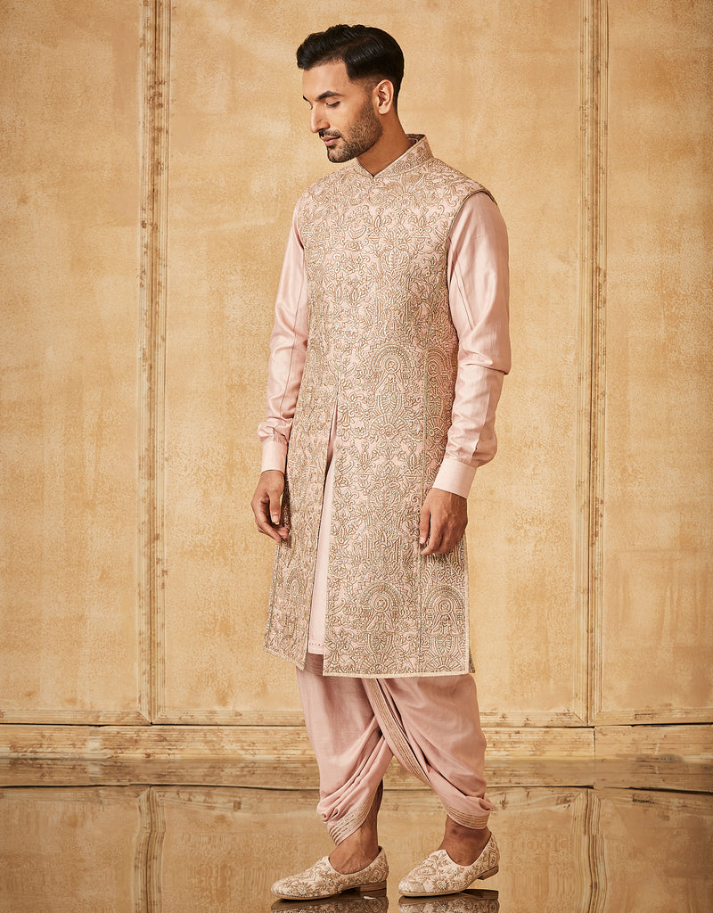 Sleeveless Sherwani With Kurta And Dhoti