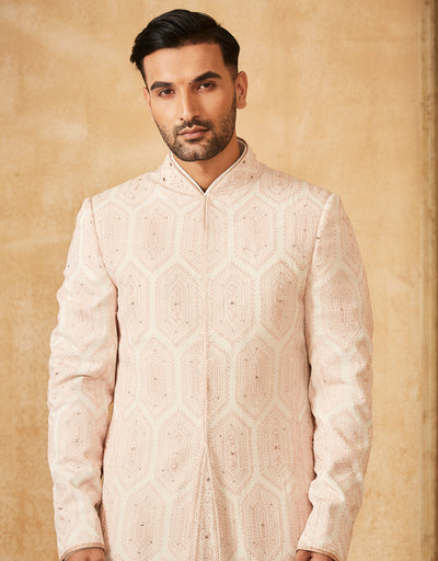 Embroidered Chikankari Sherwani With Kurta Churidar