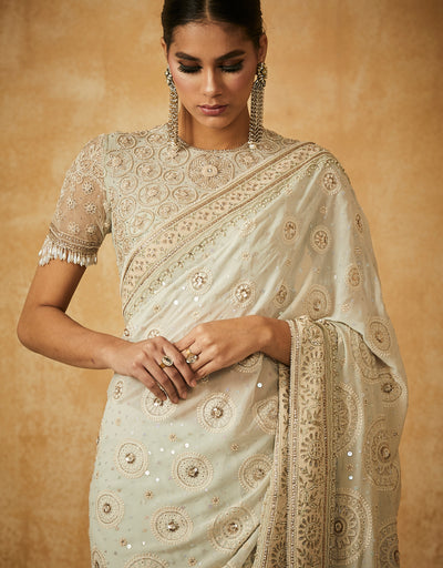 Chikankari Saree With Blouse And Petticoat