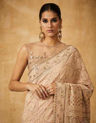 Chikankari Floral Saree With Zardozi Blouse And Petticoat