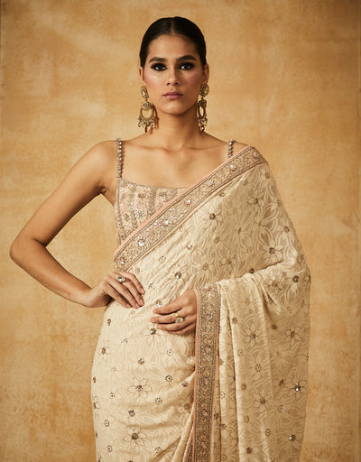Chikankari Saree With Zardozi Blouse And Petticoat