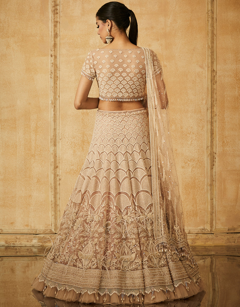 Embroidered Kalidar Lehenga With Dupatta And Blouse