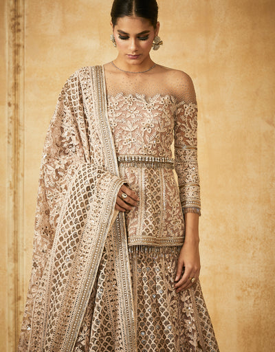 Chikankari Embroidered Kalidar Lehenga With Dupatta And Peplum Kurti
