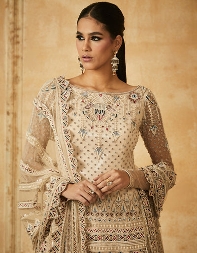 Embroidered Short Kurti With Dupatta And Sharara