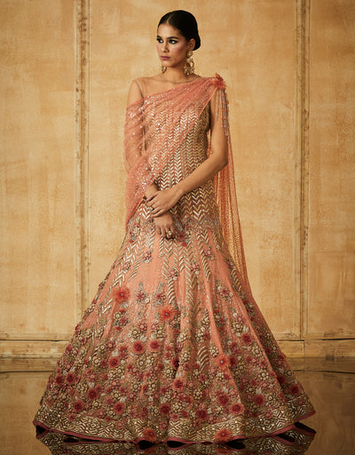 Floral Embroidered Kalidar Lehenga With Kurti And Drape Dupatta