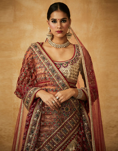 Embroidered Kalidar Bridal Lehenga With Dupatta And Zardozi Blouse