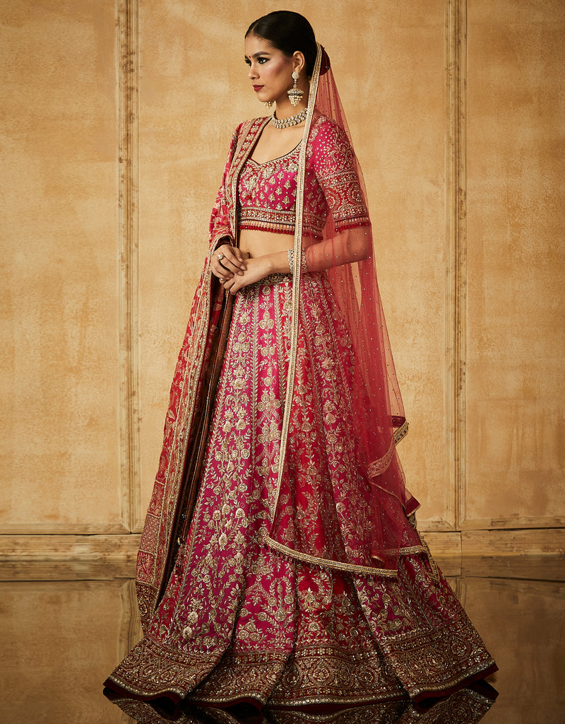 Embroidered Kalidar Bridal Lehenga With Blouse, Dupatta And Veil