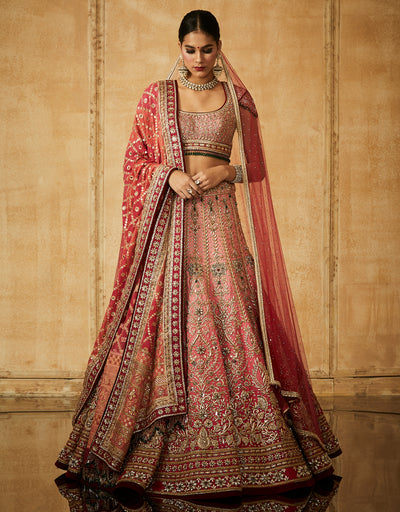 Embroidered Kalidar Bridal Lehenga With Veil, Dupatta And Blouse
