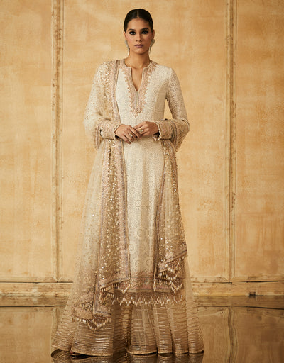 Chikankari Straight Kurta With Sharara And Dupatta