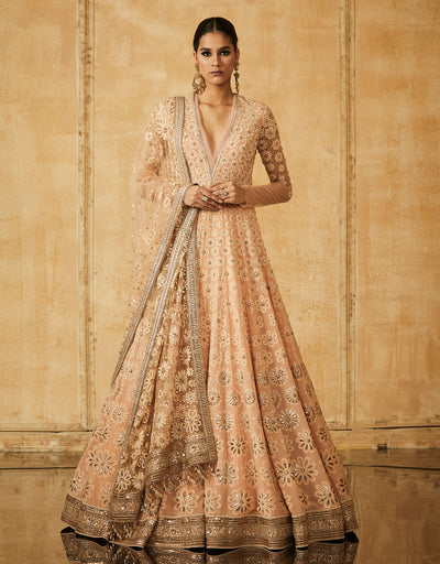 Chikankari Kalidar Anarkali With Dupatta, Churidar And Crystal Belt
