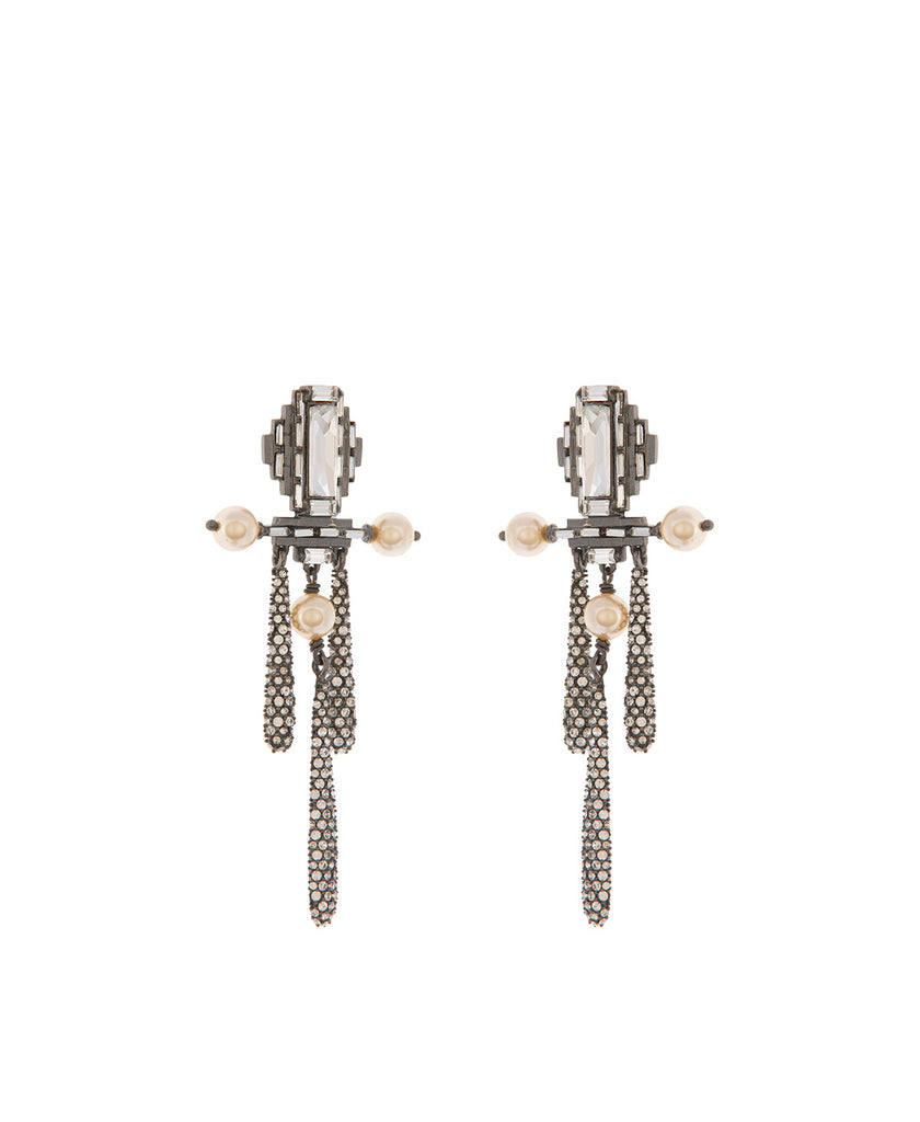 Luminescent Deco Top Pave drop Earrings