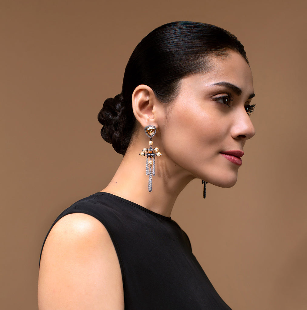 Luminescent Stone Top Pave Drop Earrings