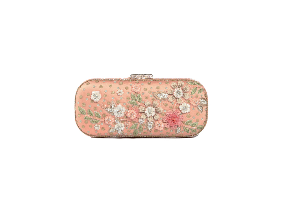 Flower Embroidered Clutch