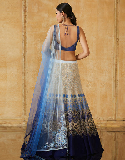 Embroidered Lehenga Paired With Raw Silk Blouse &Net Dupatta