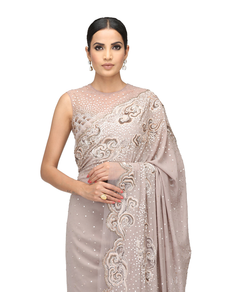 Embroidered Gota Saree with blouse