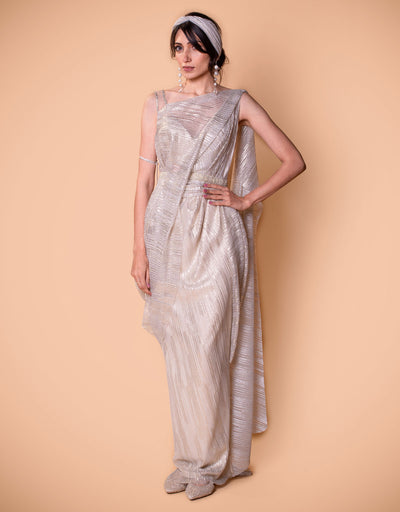 Pre-Draped Saree In Crinkle Tulle With A Belt.