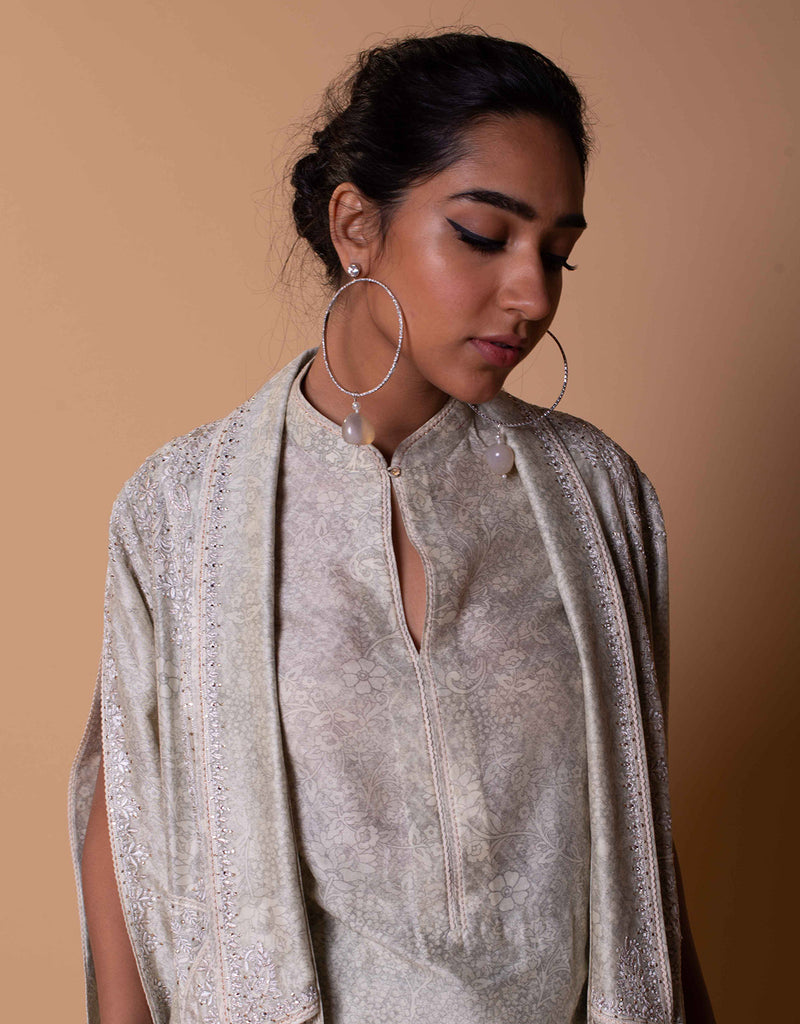 Printed Jacket In Chanderi Featuring Chikankari Embroidery. Paired With A Printed Sleeveless Kurta And Trousers.