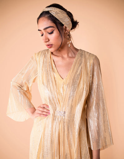 Kurta In Crinkle Tulle Embellished With Crystal Detailing. Paired With A Churidar