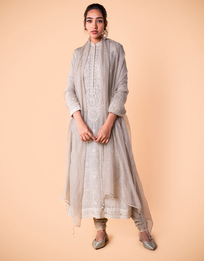 Digitally Printed Kurta In Georgette Featuring Chikankari Embroidery. Paired With A Striped Jacquard Dupatta.