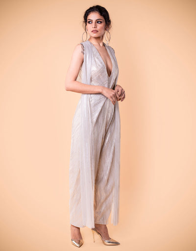 Draped Jumpsuit In Crinkle Tulle.