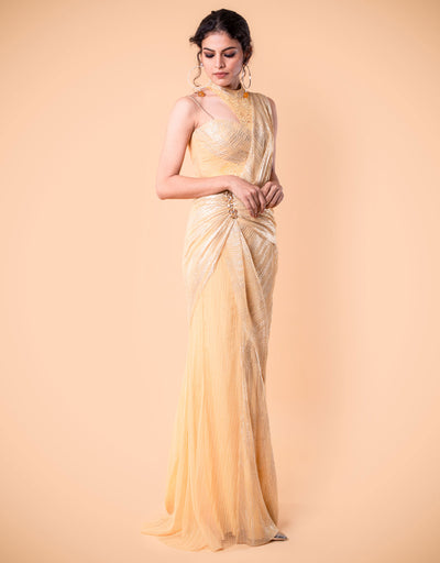 Pre-Draped Saree In Crinkle Tulle.