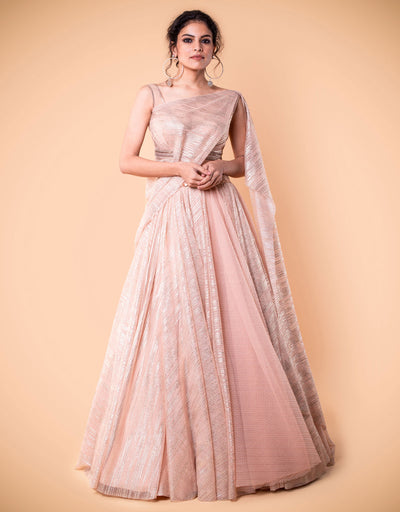 Lehenga In Crinkle Tulle. Paired With A Draped Blouse In Crinkle Tulle Embellished With Crystals