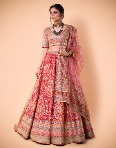 Kalidar Lehenga In Silk Dupion Featuring French Knot Hand Embroidery. Paired With An Embroidered Blouse And A Printed Dupatta In Sheer Silk.