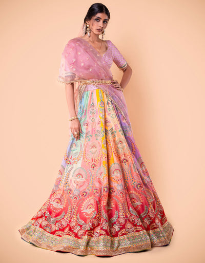 Multi-Coloured Kalidar Lehenga Featuring Zardozi And French Knot Hand Embroidery. Paired With An Embroidered Blouse And A Printed Embroidered Dupatta