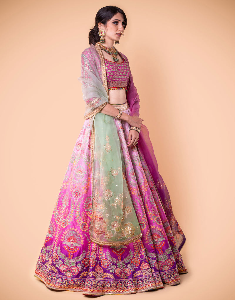 Ombre Kalidar Lehenga Embroidered With Zari. Paired With An Embroidered Blouse And Printed Dupatta In Sheer Silk