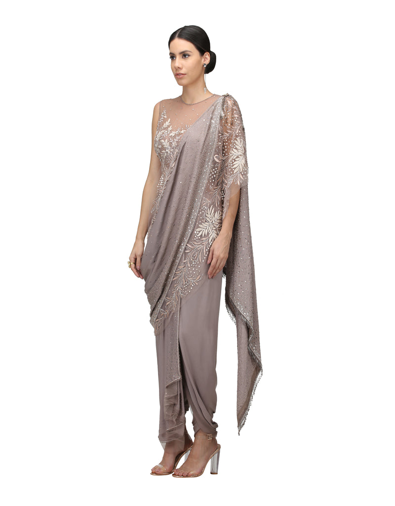 Pre-Draped Saree With Bodysuit