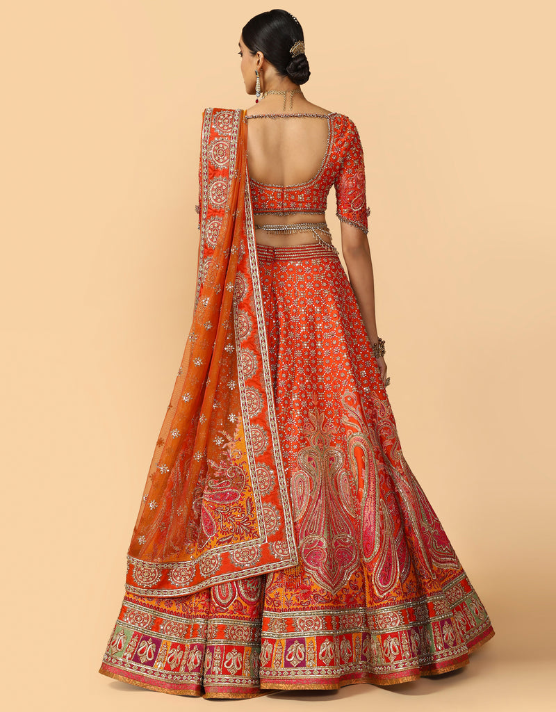 Zardoz, Mirrorwork & Aari Embroidered Bridal Lehenga With Blouse & Dupatta