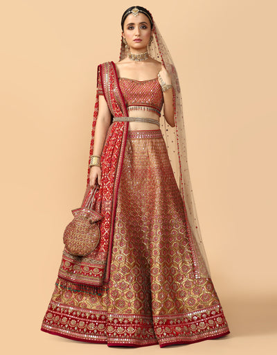Embroidered Bridal Lehenga With Blouse, Dupatta & Veil