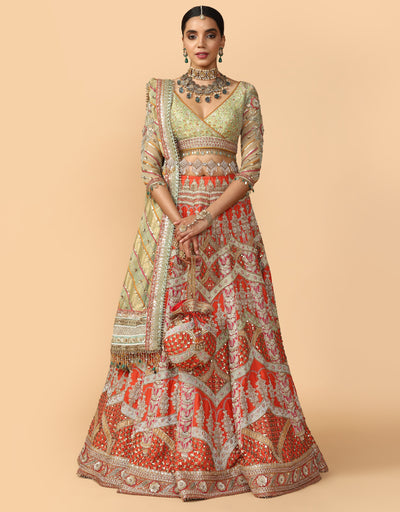 Multicoloured Bridal Lehenga With Blouse, Dupatta & Veil