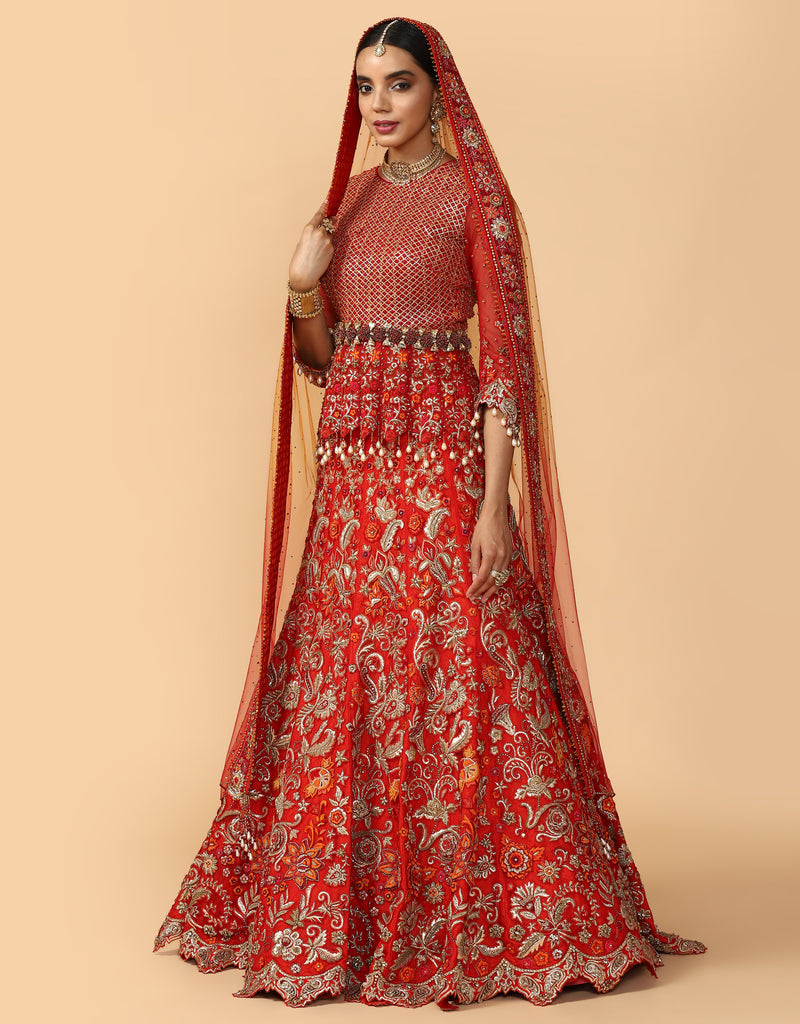 Gota & Resham French Knot Embroidered Bridal Lehenga With Blouse & Veil