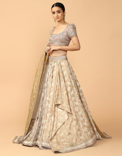 Drape Brocade Lehenga With Blouse & Dupatta