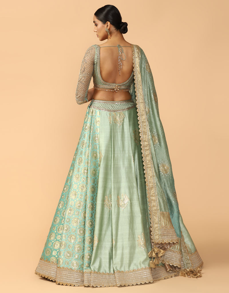 Brocade Pleated Kalidar Lehenga With Blouse & Dupatta