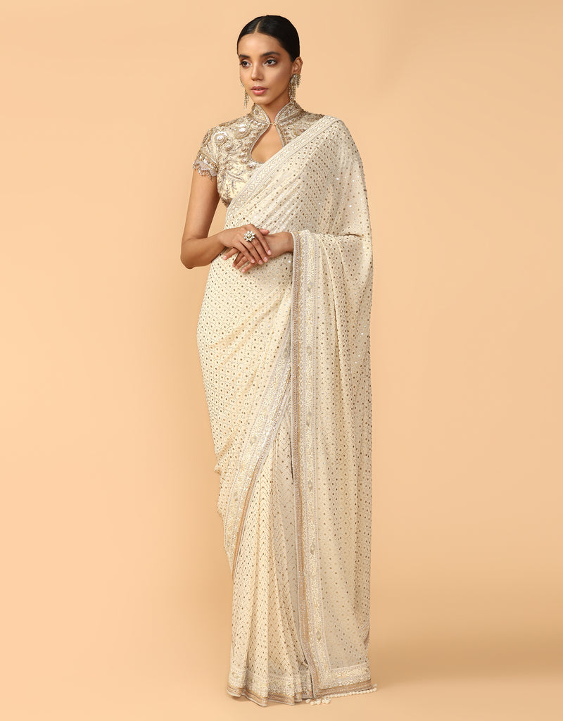 Mukaish Saree With Hand Embroidered Blouse