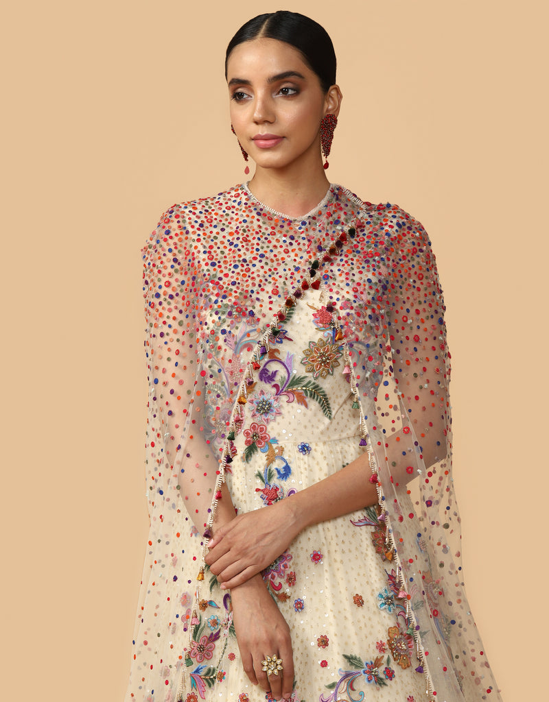 Multi Colored Kalidar Anarkali With Cape And Churidar
