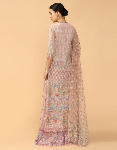 Multi Colored Kurta Paired With Sharara, Dupatta And Churidar