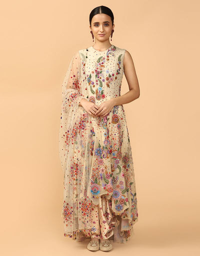 Asymmetrical Kalidar Kurta With Dhoti And Aari Embroidered Dupatta
