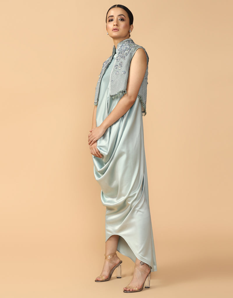 Trellis Gilet With Drape Dress