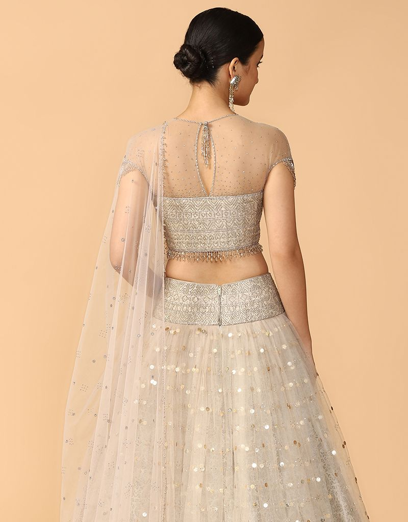 Mukaish Embroidery Lehenga With Blouse And Dupatta