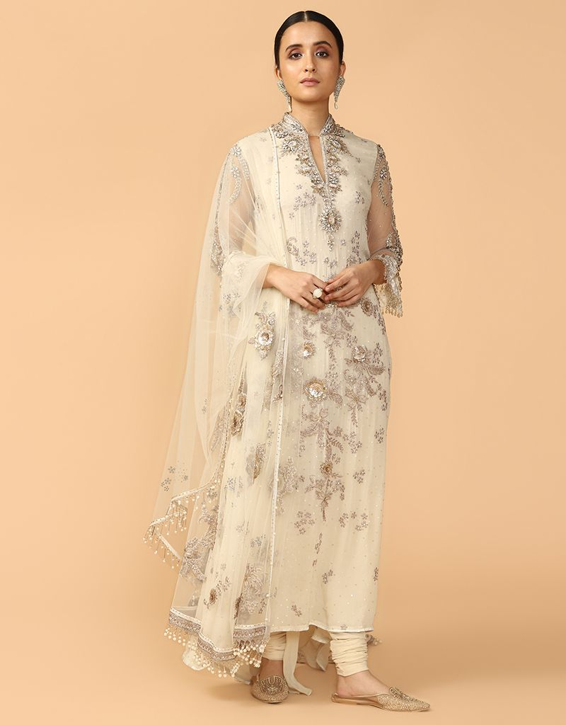 Kurta With Embroidered Dupatta And Churidar