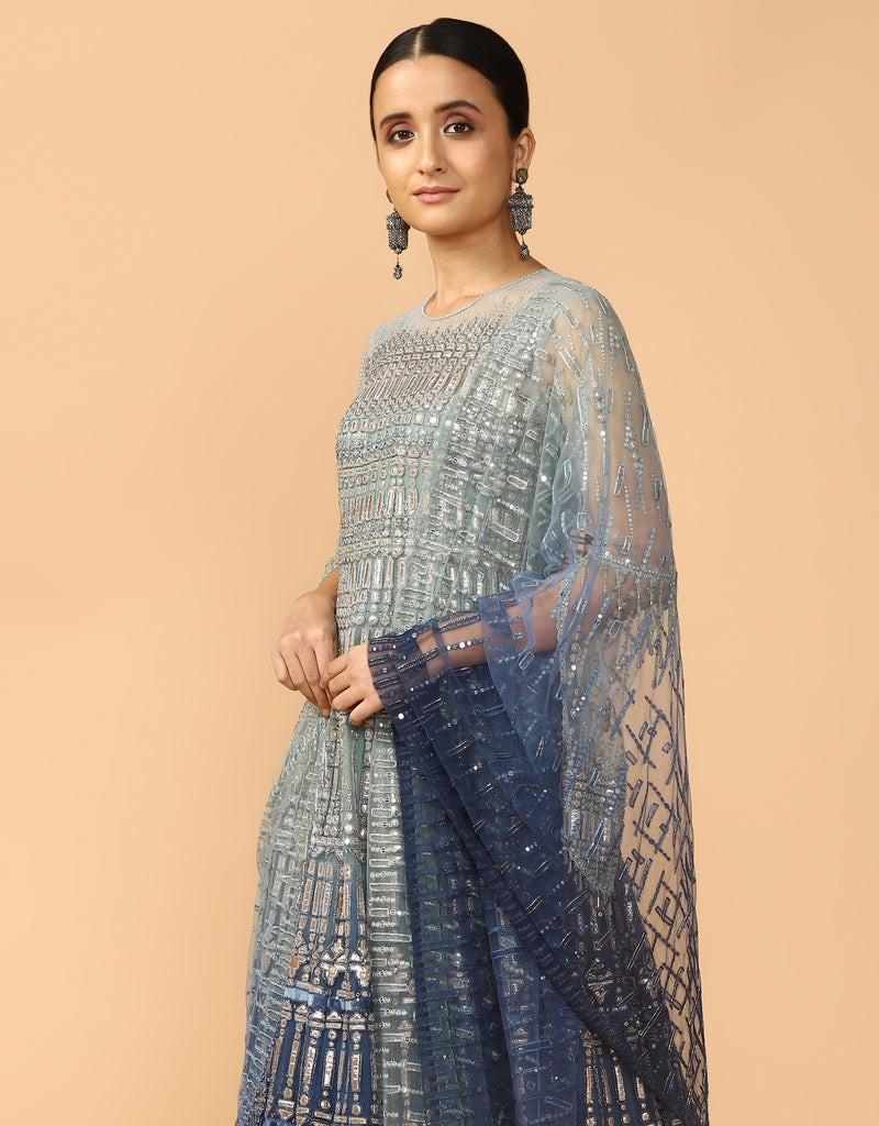 Gota Embroidered Kalidar Kurta With Dupatta & Churidar
