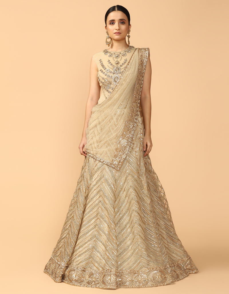 Chevron Kalidar Lehenga With Bodysuit & Drape