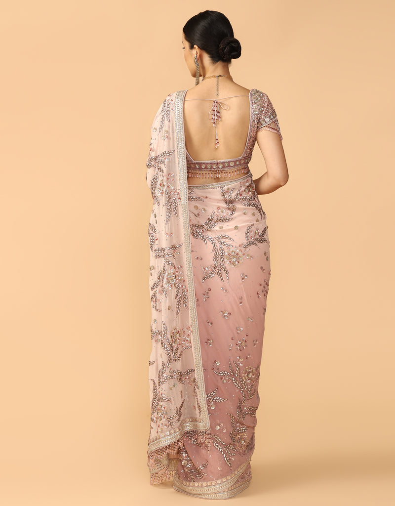 Gota & Cut Dana Embroidered Saree With Drape & Blouse
