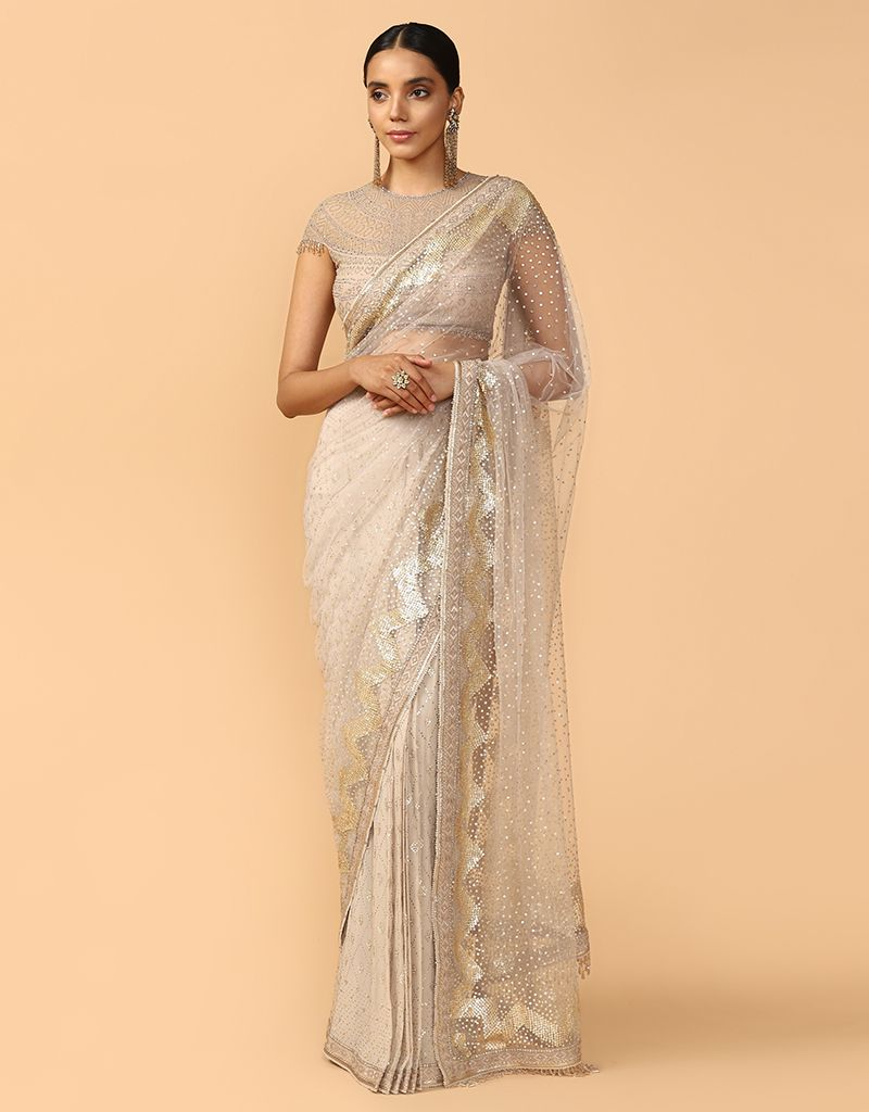 Mukaish And Gota Embriodery Saree And Drape
