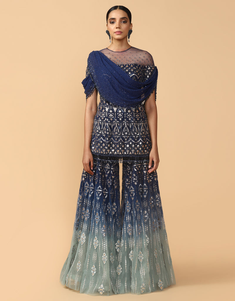 Embroidered Sharara With Kurti & Drape
