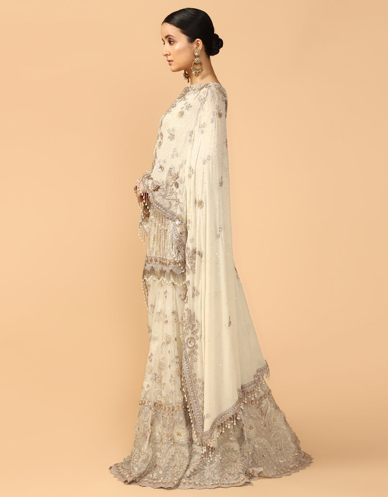 Hand Embroidered Drape Kurti With Sharara